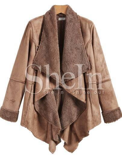 Khaki Long Sleeve Faux Fur Lapel Outerwear