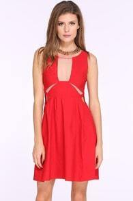 Red Sleeveless Cut Out Flare Dress