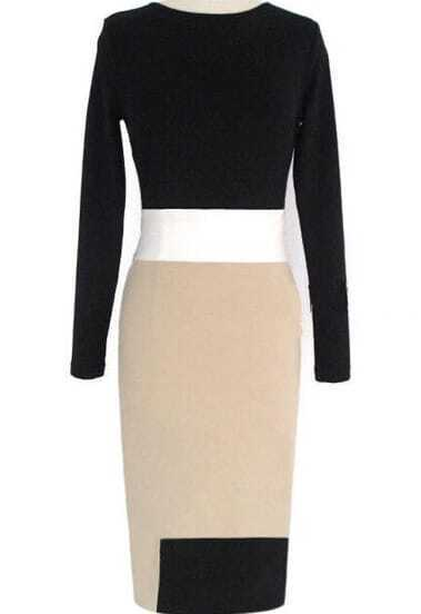 Black Apricot Long Sleeve Slim Bodycon Dress