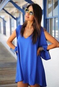 Blues V Neck Split Sleeve Loose Chiffon Dress
