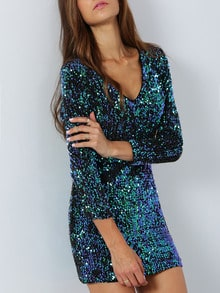 Green Long Sleeve Sparkles Sequined Glitzy Bodycon Dress