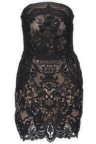 Black Strapless Embroidered Lace Dress