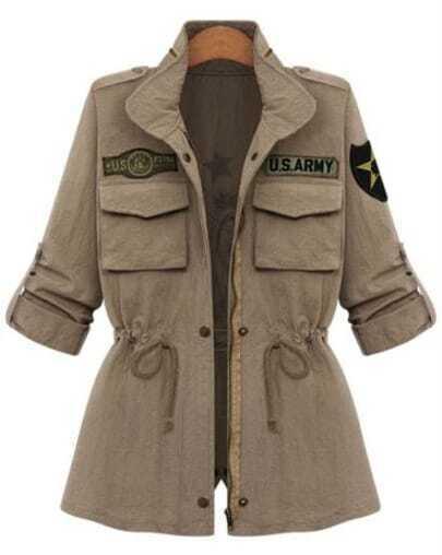 Khaki Long Sleeve Drawstring Print Coat