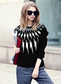 Black Long Sleeve Lightning Print Sweatshirt