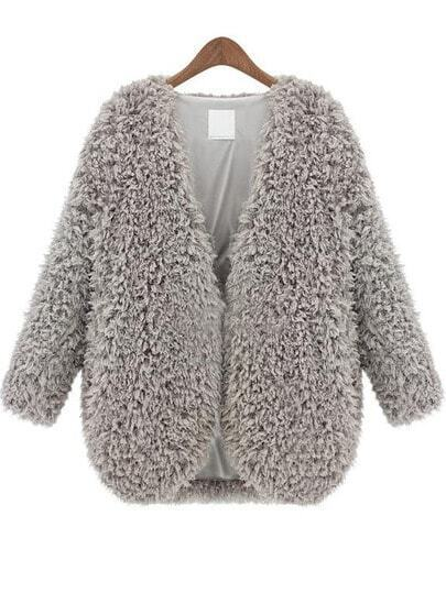 Grey V Neck Long Sleeve Faux Fur Coat -SheIn(Sheinside)