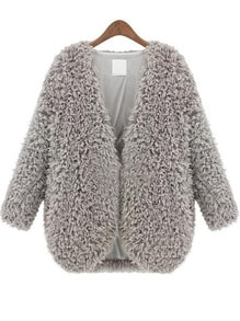 Grey V Neck Long Sleeve Faux Fur Coat
