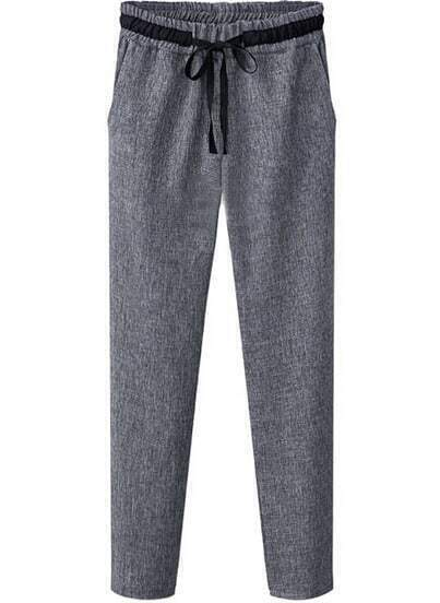 Grey Elastic Waist Pockets Loose Pant