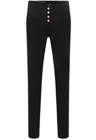 Black Buttons Slim Elastic Pencil Pant