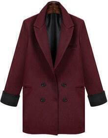 Wine Red Lapel Long Sleeve Pockets Blazer