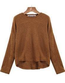 Khaki Long Sleeve Dipped Hem Knit Sweater