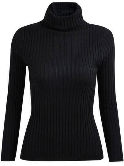 Black High Neck Long Sleeve Slim Knit Sweater