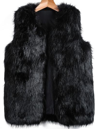 Black Sleeveless Fox Fur Vest
