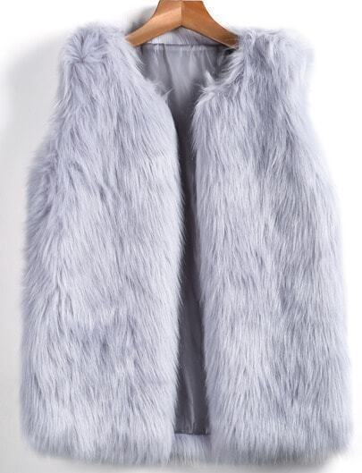 Grey Sleeveless Fox Fur Vest