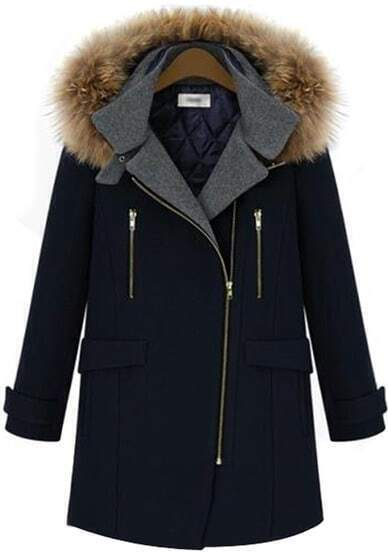 Navy Long Sleeve Hooded Zipper Woolen Coat