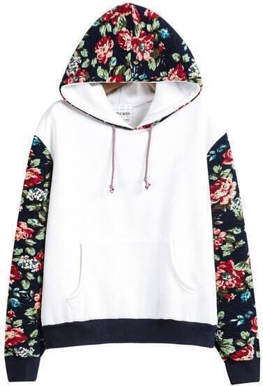 White Hooded Contrast Floral Loose Sweatshirt