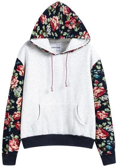 Grey Hooded Contrast Floral Loose Sweatshirt