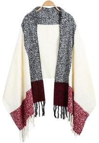 Beige Classic Tassel Knit Scarve -SheIn(Sheinside)