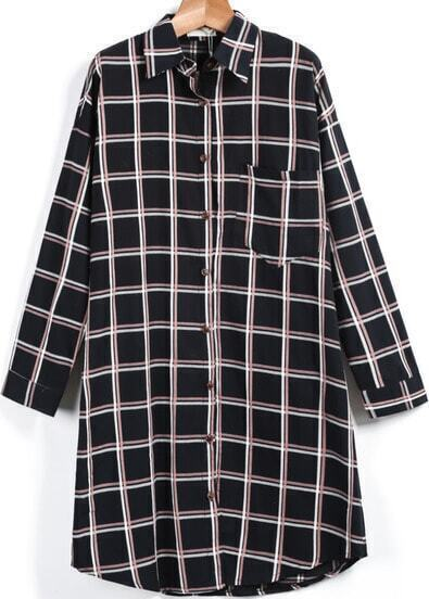 Black Long Sleeve Plaid Pocket Blouse