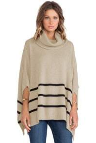 Apricot Striped Cape Style Sweater