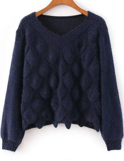 Royal Blue Long Sleeve Scales Pattern Sweater