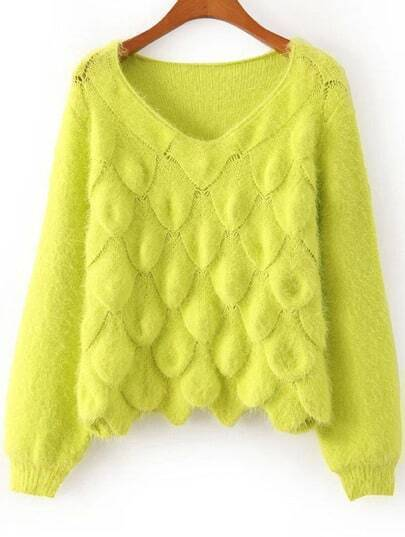 Yellow Long Sleeve Scales Pattern Sweater