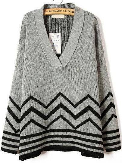 Grey V Neck Long Sleeve Striped Knit Sweater