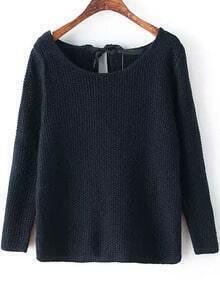Navy Long Sleeve Bandage Knit Sweater