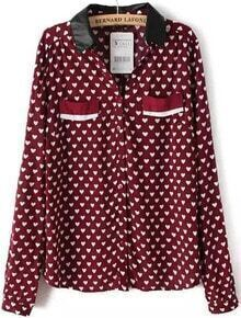 Red Contrast PU Leather Lapel Hearts Print Blouse