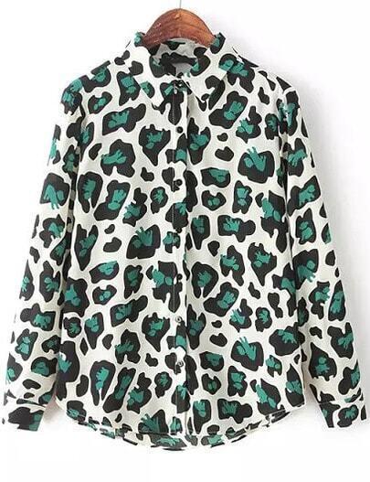Green Long Sleeve Leopard Graffiti Print Blouse