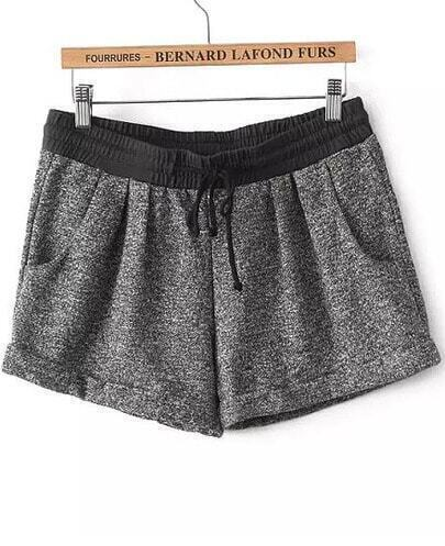 Grey Elastic Waist Straight Shorts