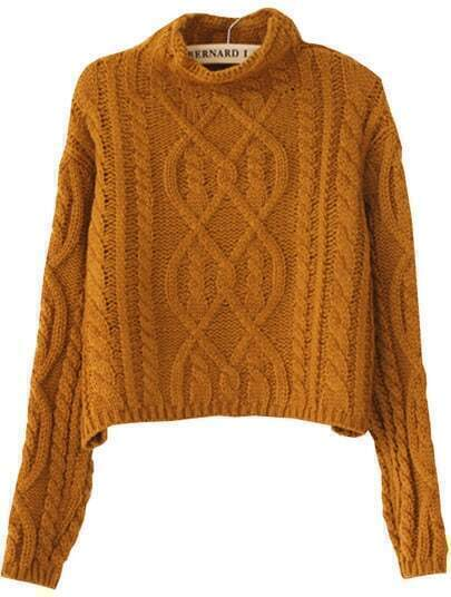 Yellow High Neck Crop Cable Knit Sweater