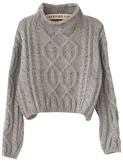 Grey High Neck Crop Cable Knit Sweater