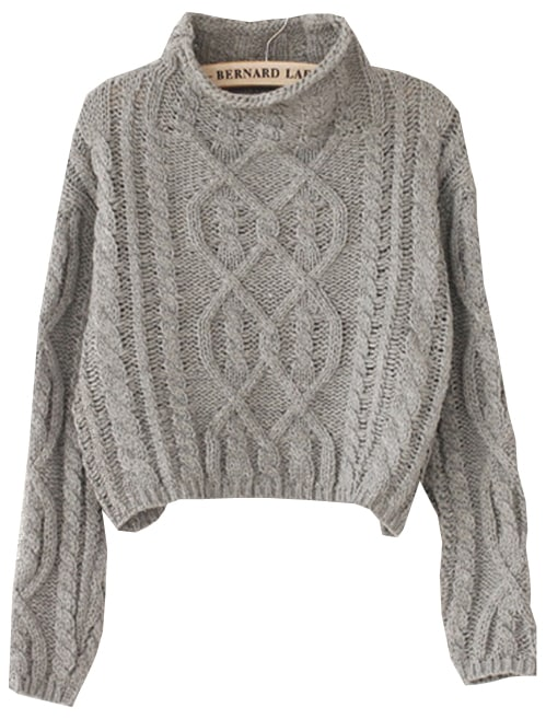Grey High Neck Crop Cable Knit Sweater -SheIn(Sheinside)
