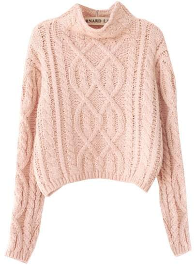 Pink High Neck Crop Cable Knit Sweater