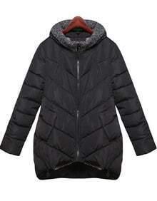 Black Hooded Long Sleeve Pockets Coat