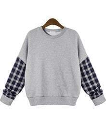 Sweat-Shirt décontracté à plaid -gris
