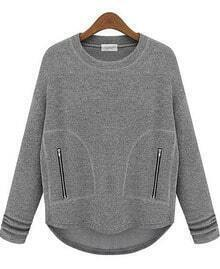 Grey Long Sleeve Zipper Pockets Sweatshirt