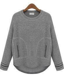 Grey Long Sleeve Zipper Pockets Sweatshirt