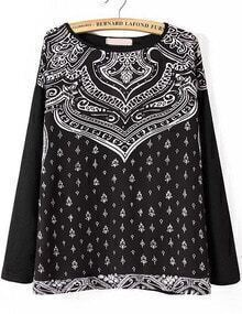 Black Long Sleeve Totem Print Loose Sweatshirt