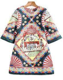 Multicolor Three Quarter Length Sleeve Vintage Floral Dress