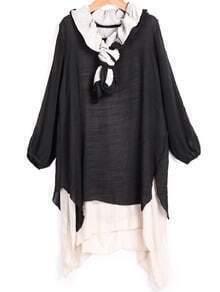 Black Long Sleeve Asymmetrical Loose Dress