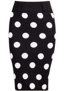 Black Polka Dot Bodycon Knit Skirt