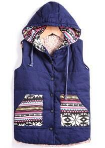 Blue Hooded Sleeveless Tribal Print Vest