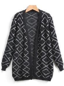 Black Long Sleeve Diamond Cardigan Sweater