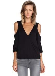 Black Off The Shoulder V Neck T-shirt
