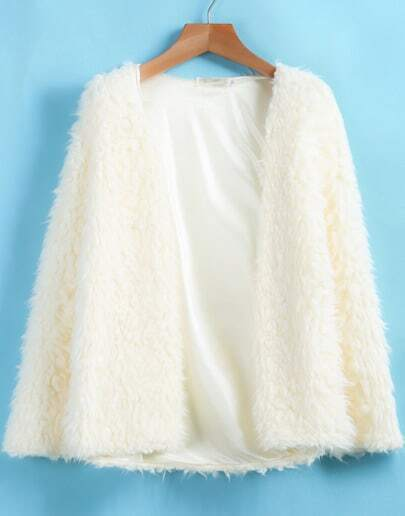 Ivory Long Sleeve Loose Plush Cardigan