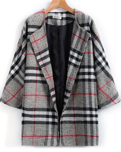 Grey Lapel Plaid Loose Woolen Coat