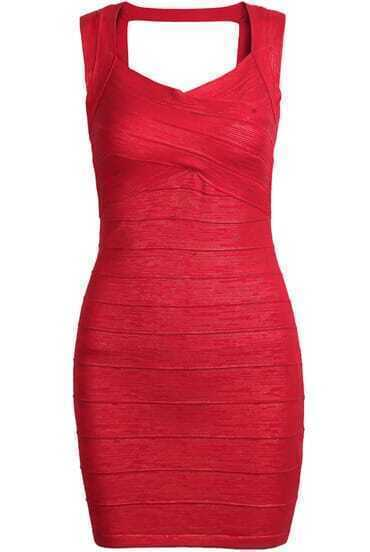 Red Sleeveless Skinny Bodycon Bandage Dress