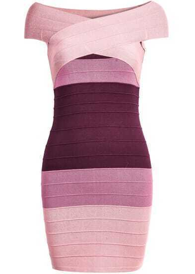 Pink Ombre Short Sleeve Bandage Dress