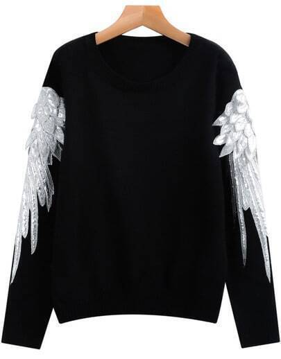 Black Long Sleeve Wing Knit Sweater